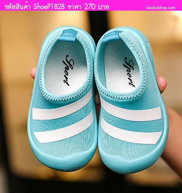 รองเท้าผ้าใบแต่งแถบคาด Fashion Sport สีฟ้า
