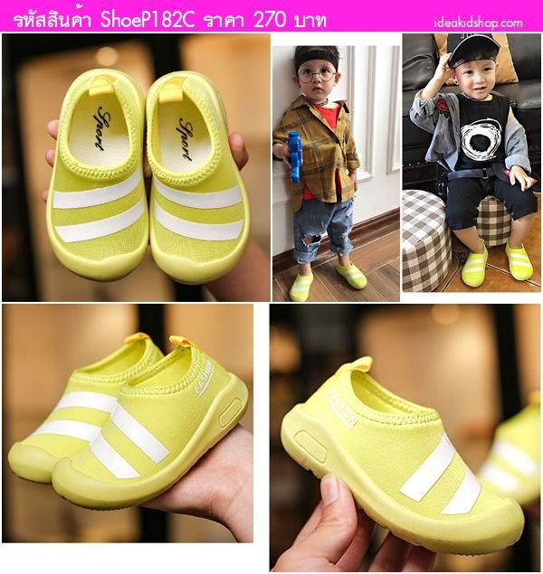 รองเท้าผ้าใบแต่งแถบคาด Fashion Sport สีเขียว