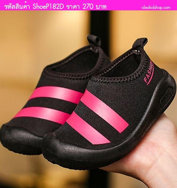 รองเท้าผ้าใบแต่งแถบคาด Fashion Sport สีดำ