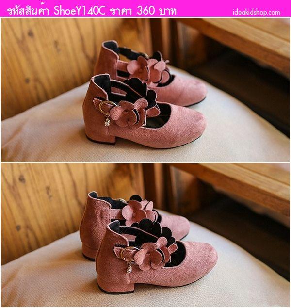 รองเท้ารัดส้นคุณหนูไฮโซ แต่งสายคาดดอกไม้ สีชมพู