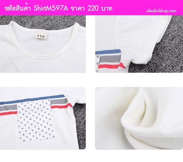 เสื้อยืดแฟชั่นแต่งแถบคาด หนูน้อยแทกุก สีขาว