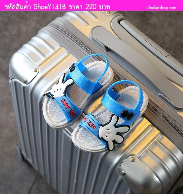 รองเท้ารัดส้น Scholl Mickey MINI SED สีเทาน้ำเงิน