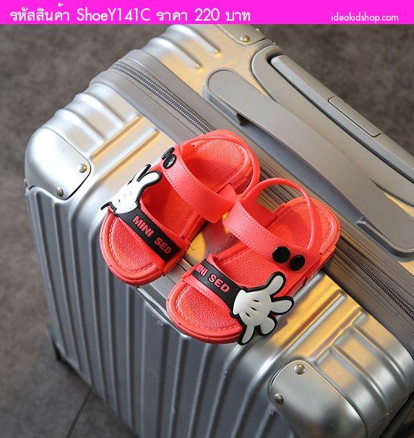 รองเท้ารัดส้น Scholl Mickey MINI SED สีแดงดำ