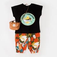 ชุดเสื้อกางเกงกราฟฟิก-CAMP-TOPANGA-สีดำ