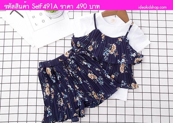 ชุดเสื้อกางเกงอัดพลีท ลายดอกไม้ สีกรม(เซต3ชิ้น)