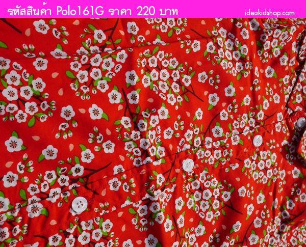 เสื้อเชิ้ตคอปกสไตล์วินเทจ ลายดอก สีแดง