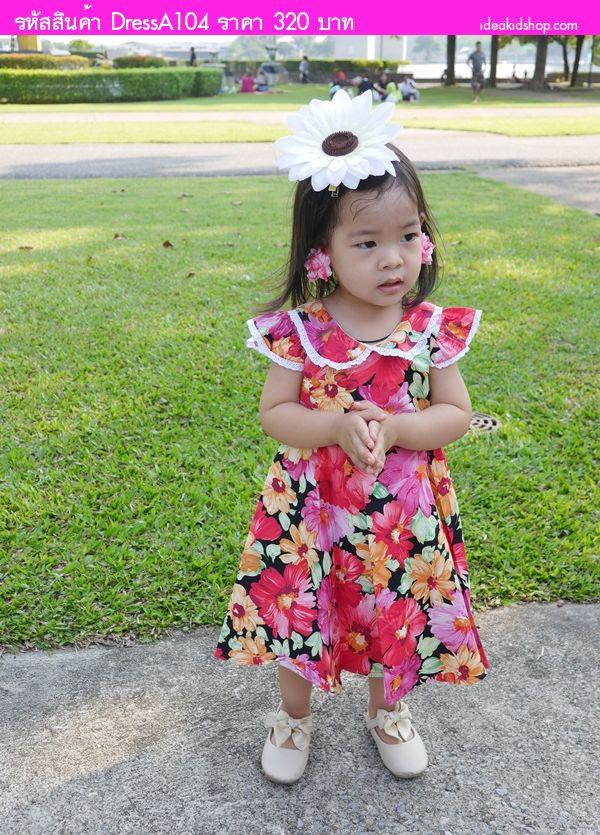 ชุดเดรสลายดอก ทองกวาวน้อย สีชมพู