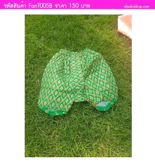 กางเกงโจงกระเบนพิมพ์ทอง ลายไทย โทนสีเขียว