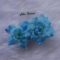 ตุ้มหูดอกไม้แบบหนีบ-สีฟ้า