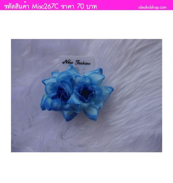 ตุ้มหูดอกไม้แบบหนีบ สีน้ำเงิน