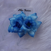 ตุ้มหูดอกไม้แบบหนีบ-สีน้ำเงิน