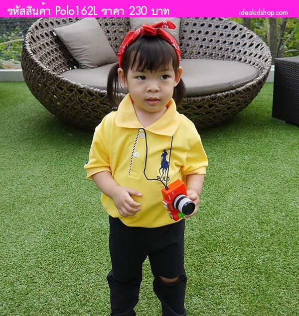 เสื้อ Polo RL Number 3 สีเหลือง