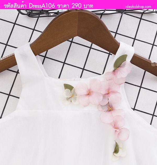มินิเดรสคุณหนูเบอริต้า แต่งดอกไม้ สีขาว