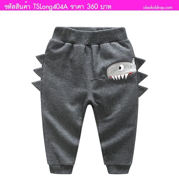 กางเกงวอร์มขายาว แต่งลายฉลามสุดเท่ สีเทา