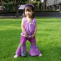 ชุดไทยเสื้อคอกระเช้า-กางเกงขาม้า-สีม่วง