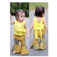 ชุดไทยเสื้อคอกระเช้า-กางเกงขาม้า-สีเหลือง