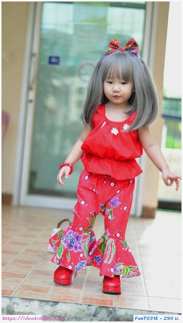 ชุดไทยเสื้อคอกระเช้า กางเกงขาม้า สีแดง