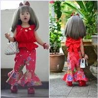 ชุดไทยเสื้อคอกระเช้า-กางเกงขาม้า-สีแดง