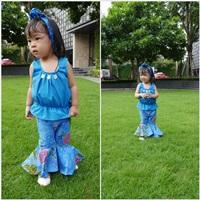 ชุดไทยเสื้อคอกระเช้า-กางเกงขาม้า-สีน้ำเงิน