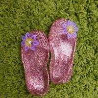 รองเท้ารังนก-ชุดเด็ก-สีชมพูติดดอกไม้