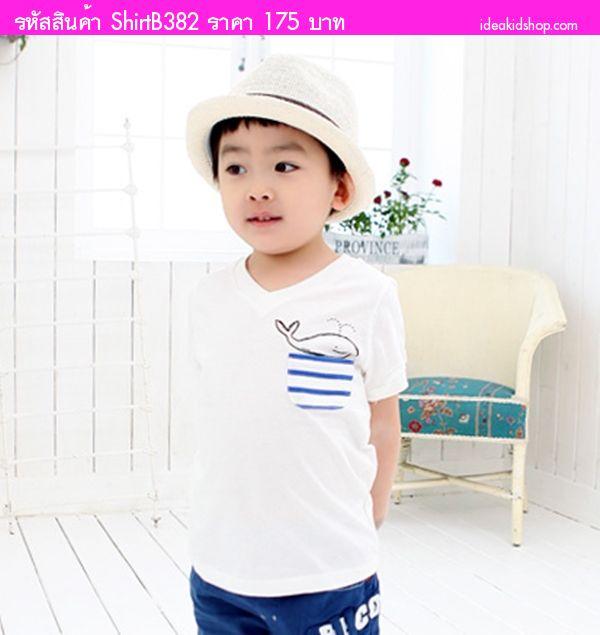 เสื้อยืดคอวีแฟชั่น หนูน้อยปลาวาฬ สีขาว