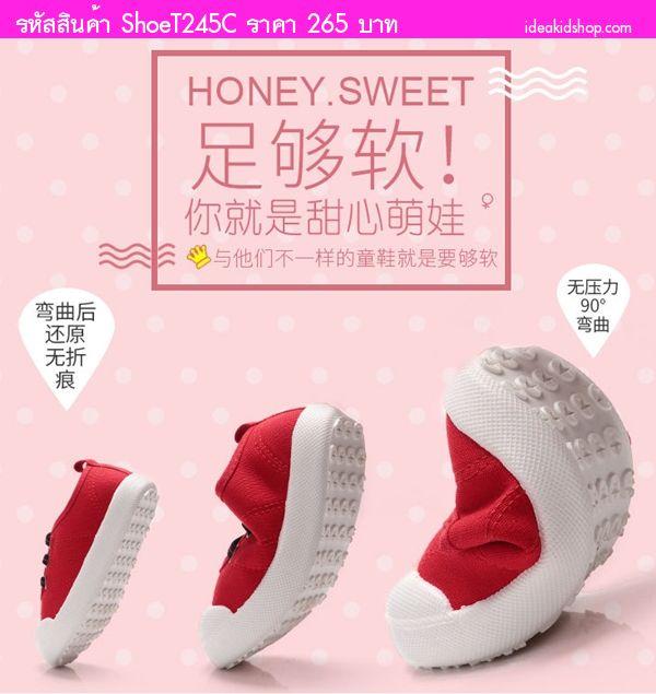 รองเท้าแต่งเชือกคาด แฟชั่น AiLvYang สีแดง