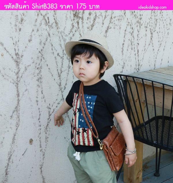 เสื้อยืดเด็กหนูน้อยคริส ลายธงชาติ Americas สีดำ