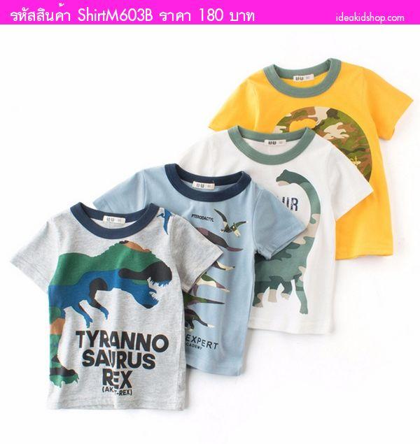 เสื้อยืดเด็ก Dinosaur สีเทา