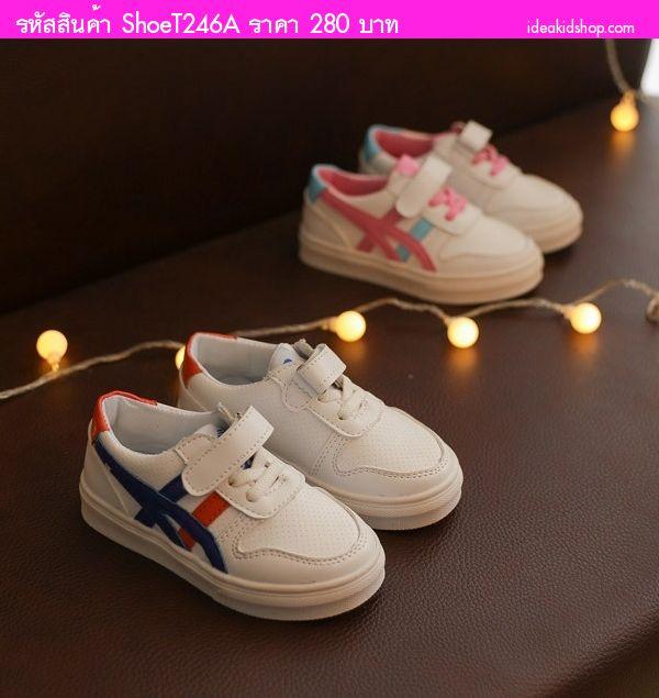 รองเท้าผ้าใบ Suapxo สไตล์ โอนิ(21-25) สีขาวชมพู