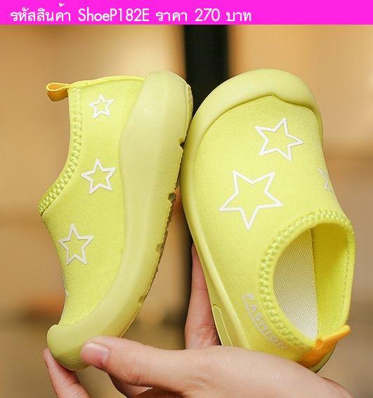 รองเท้าผ้าใบแต่งแถบคาด Fashion Sport สีเขียวลายดาว