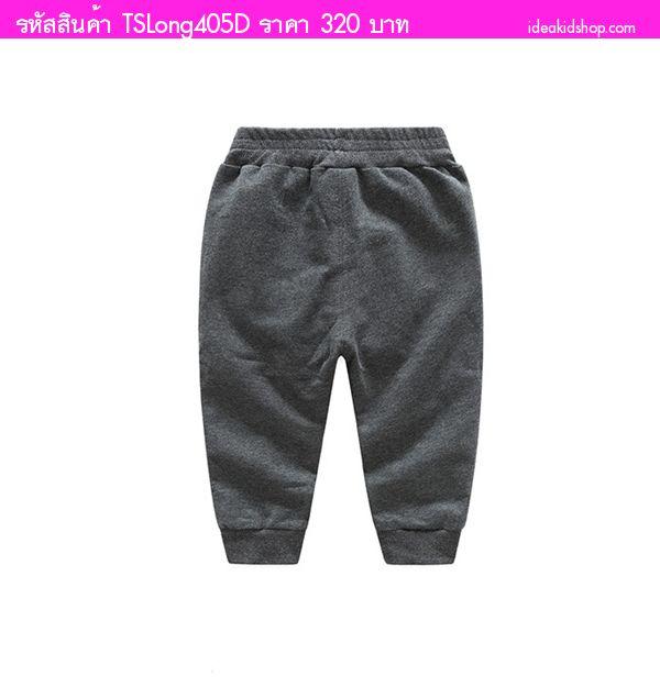 กางเกงสไตล์วอร์มขายาว NewYork 8 สีเทาอ่อน