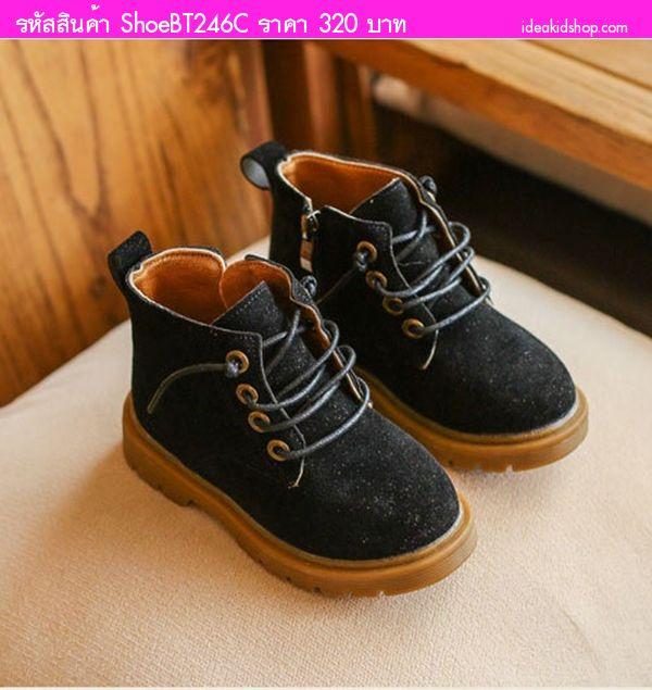 รองเท้าบูทสั้นซิปข้างสไตล์อินดี้ สีดำ