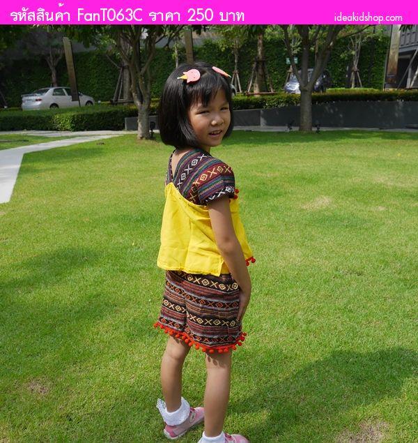 ชุดเสื้อกระโปรงเด็กดอย เด็กหญิง สีชมพูอ่อน