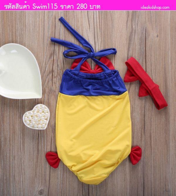 ชุดว่ายน้ำวันพีชแบบผูกคอ+ที่คาดผม Snow White