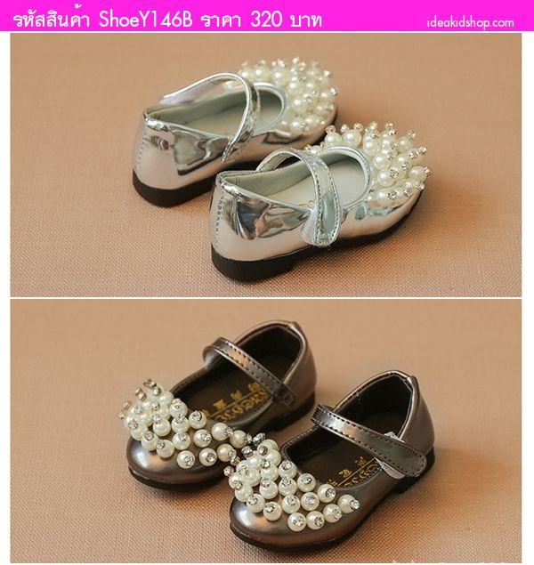 รองเท้าหุ้มส้นติดมุกประดับเพชร สีน้ำตาล