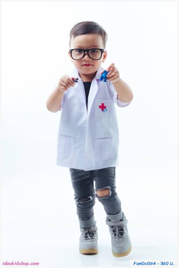 ชุดแฟนซี เสื้อกาวน์คุณหมอ สีขาว