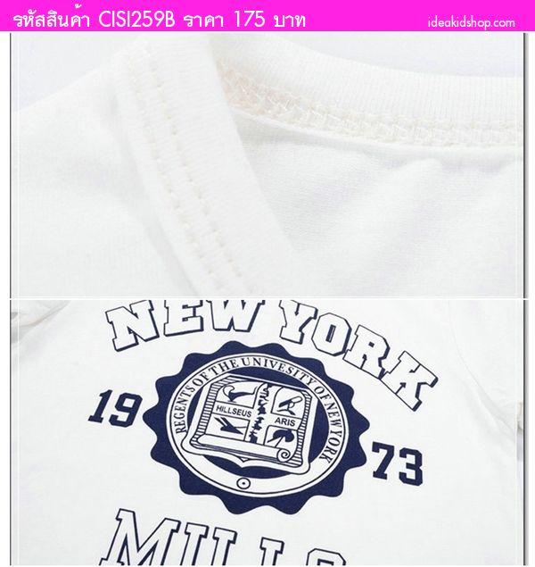 เสื้อยืดแฟชั่น NEW YORK 1973 MILLS สีน้ำเงิน