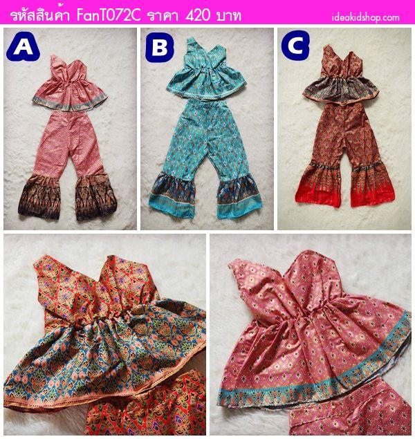ชุดผ้าไทยเสื้อและขาม้า ลายไทย สีแดง