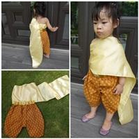 ชุดไทย-เสื้อสไบ-ลายไทย-สีเหลืองทอง