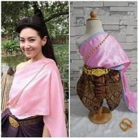 ชุดไทยสไบผ้าซาตินพร้อมโจงกระเบน-การะเกด-สีชมพู