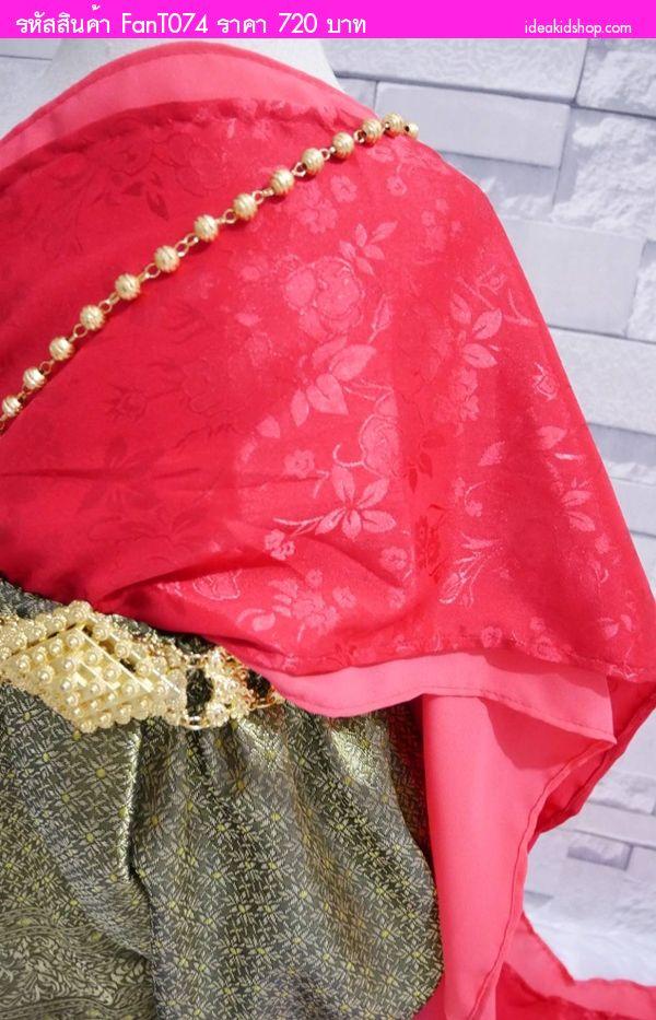 ชุดไทยสไบ+โจงกระเบนผ้าแจ็คการ์ด การะเกด สีแดง
