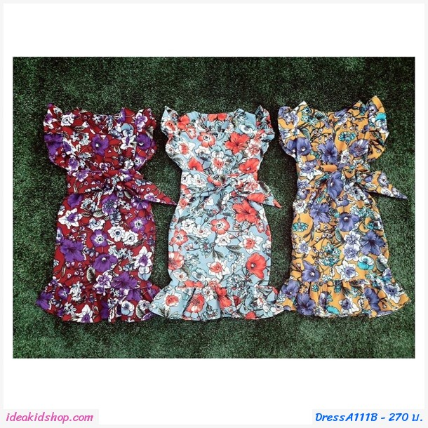 เดรสคอวี ลายดอกไม้+ผ้าผูกโบว์ สีฟ้า