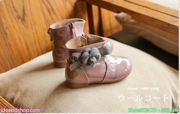รองเท้าบูทหนังแก้วติดดอกไม้สไตล์คุณหนู สีม่วงชมพู