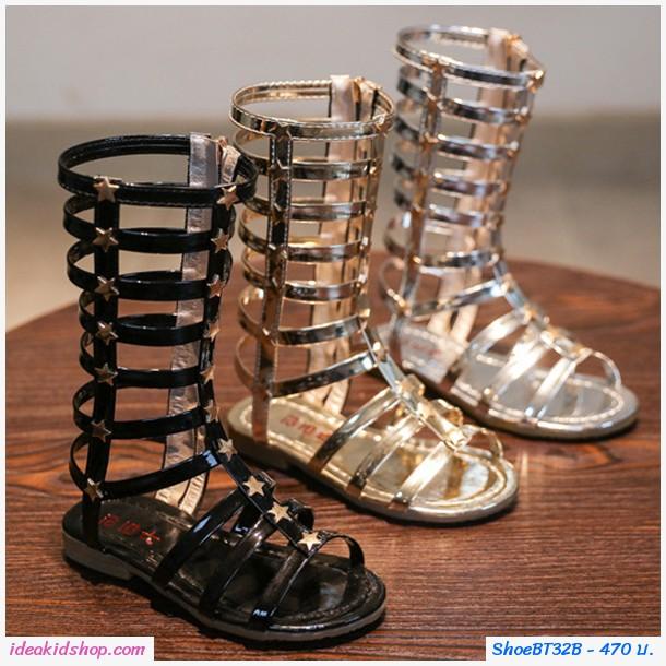 รองเท้า Gladiator High Boots ติดลายดาว สีทอง