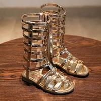 รองเท้า-Gladiator-High-Boots-ติดลายดาว-สีทอง