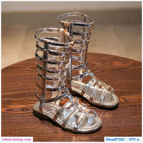 รองเท้า Gladiator High Boots ติดลายดาว สีเงิน