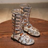 รองเท้า-Gladiator-High-Boots-ติดลายดาว-สีเงิน