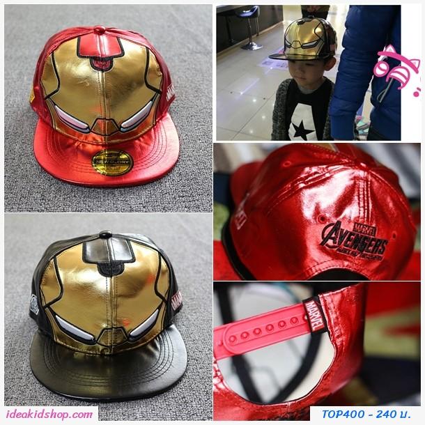 หมวกเด็ก Snapback Avengers Iron Man สีดำ