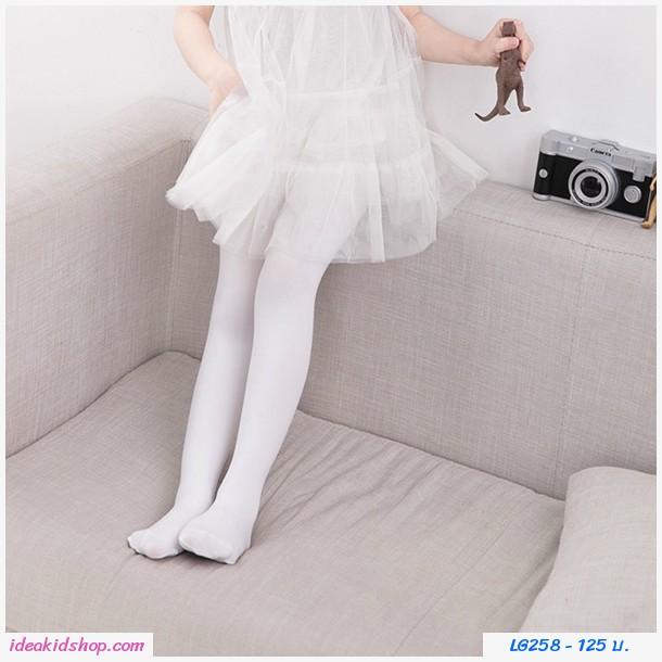ถุงน่องแบบยาว พื้นเรียบ super white สีขาว