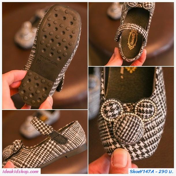 รองเท้ารัดส้นแฟชั่นชิโนริ Mickey Mouse สีดำ